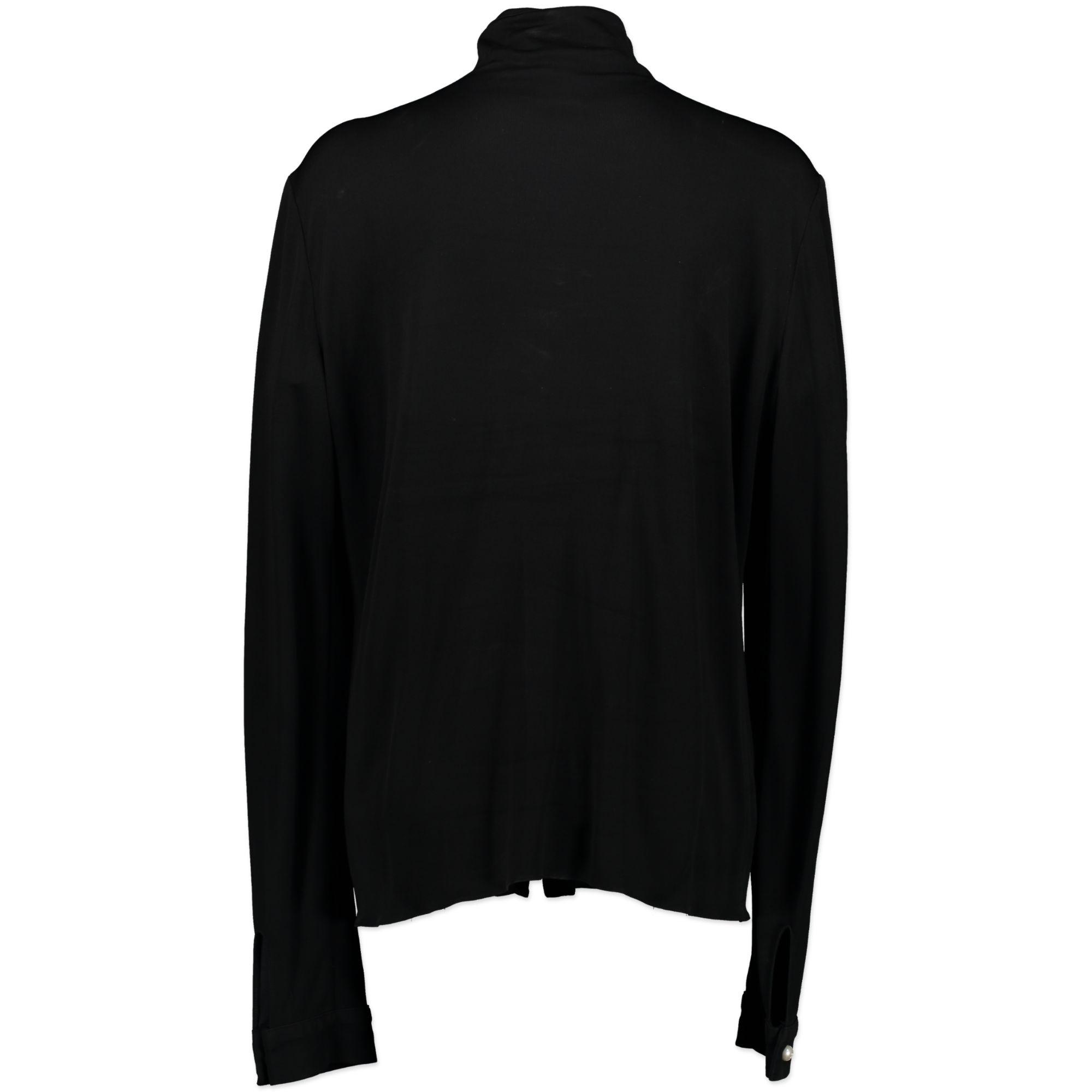 Chanel Black Long Sleeve Blouse Pearl Embellished Button Detail - Size FR50 autentic designer clothes vintage online