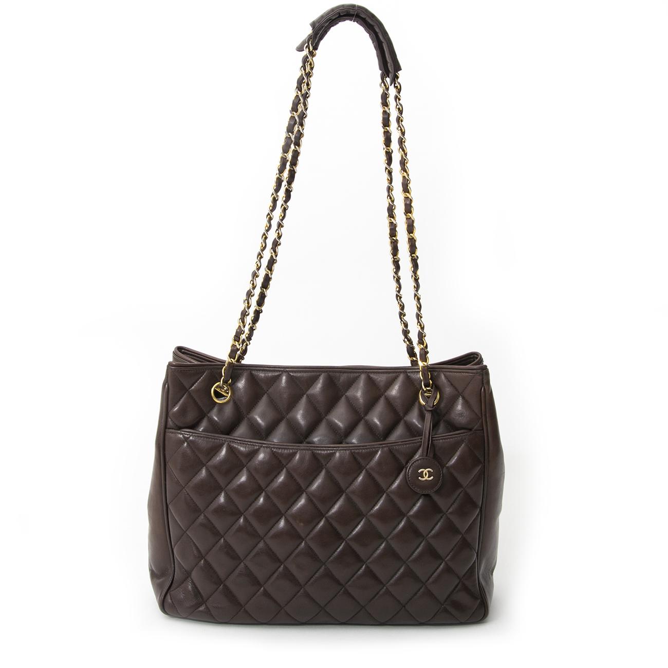 8e34b90990ad ... koop veilig online tweedehands Chanel Chocolat Brown Quilted Lambskin  Tote aan de best prijs online webshop