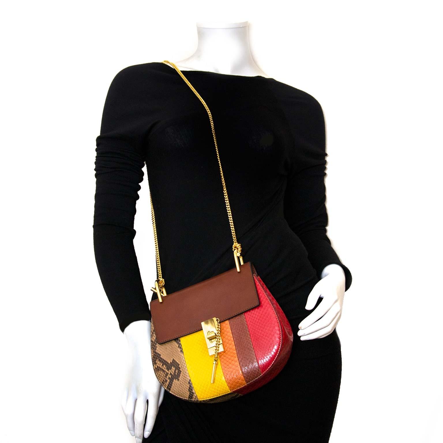 koop authentieke chloé drew multicolor python tas bij labellov vintage fashion webshop belgium
