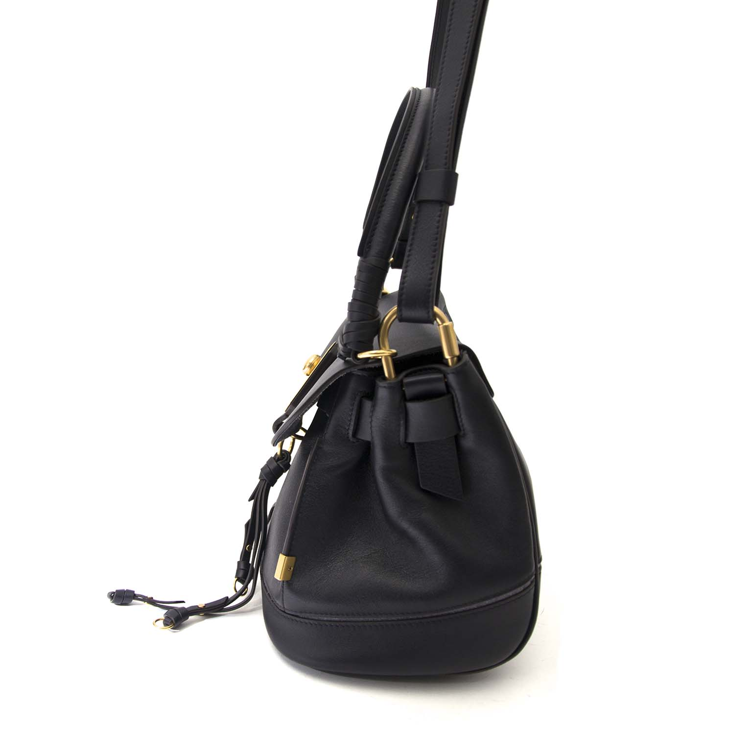 koop veilig online jou tweedehand Chloé Black Leather Owen Shoulderbag (