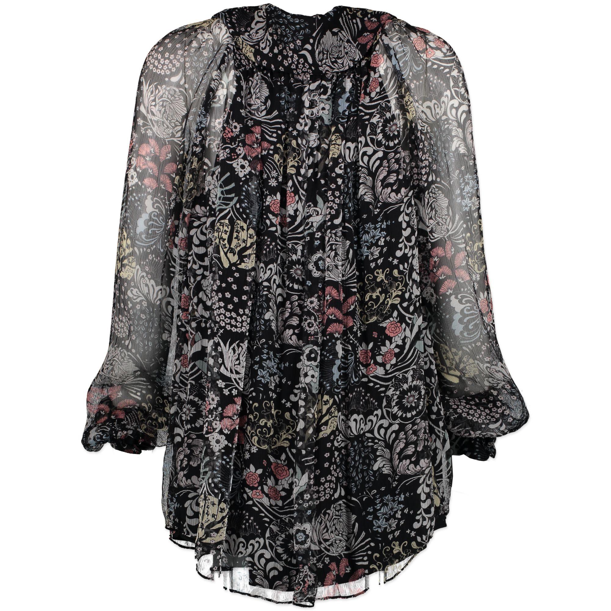 Chloé Blue Silk Flower Blouse - Size 34 - second hand designer items online shopping