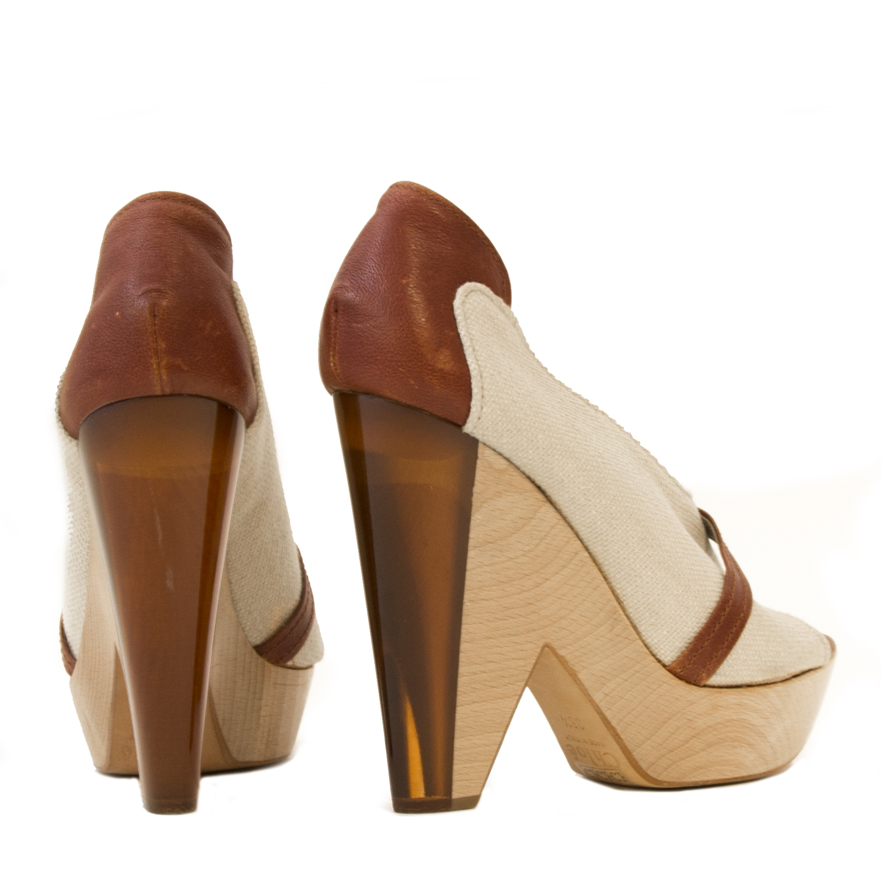 Chloé Beige Lucite Wooden Wedges- Size 38,5