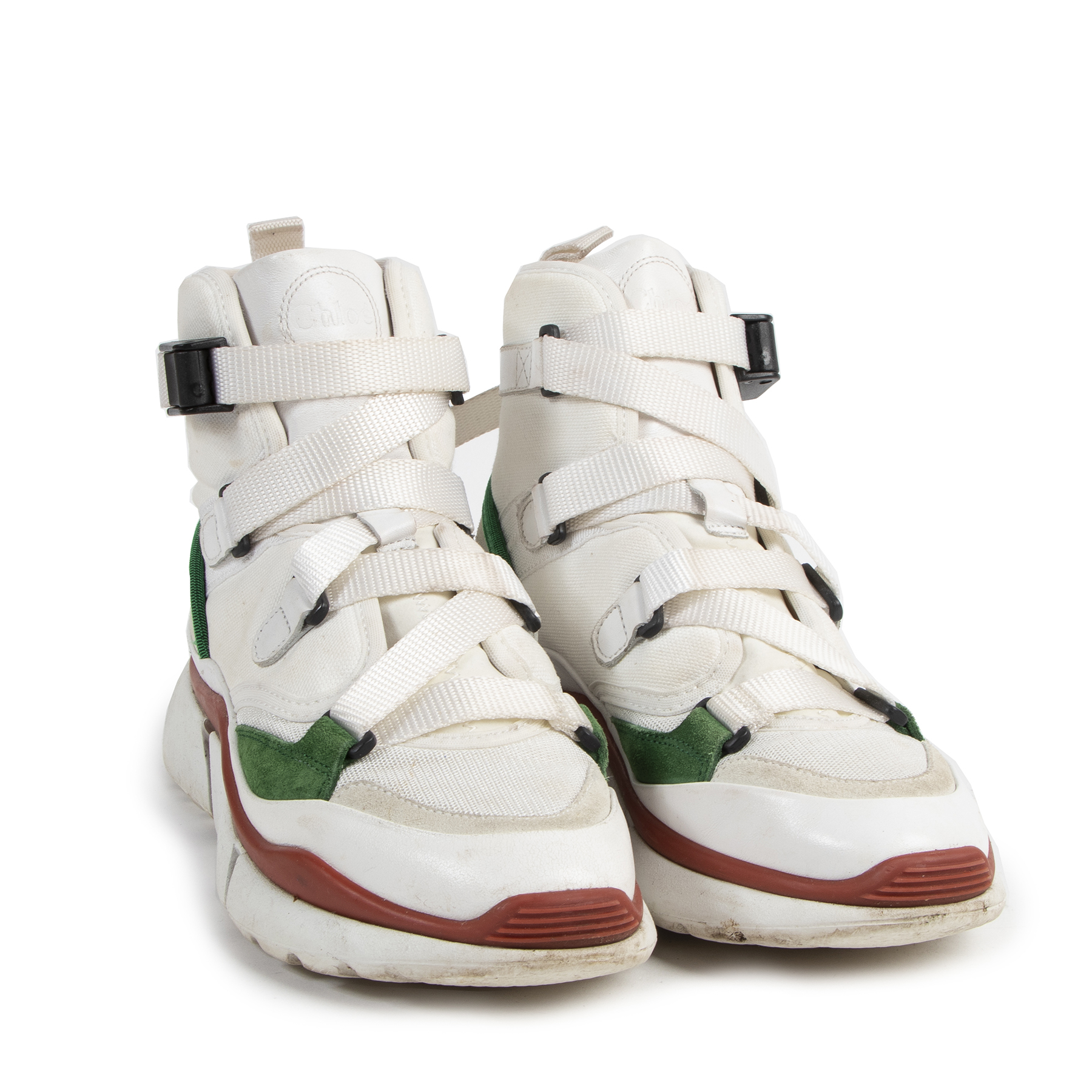 Chloé Sonnie High Top Sneakers White/Red/Green for the best price