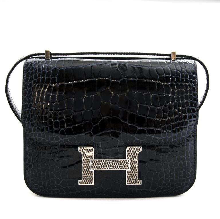 Hermès Constance 18 Mini Marquete Alligator Miss Lisse / Lezard Bleu Marine Ombre