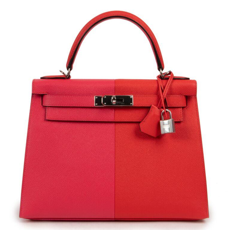 Hermès Kelly 28 Sellier Casaque Tri-Color Rouge Coeur Rose Extreme Bleu Zanzibar Epsom PHW