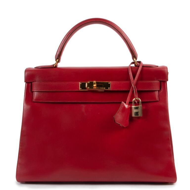Hermès Kelly Retourne 32 Smooth Red Veau Tadelakt Calfskin GHW