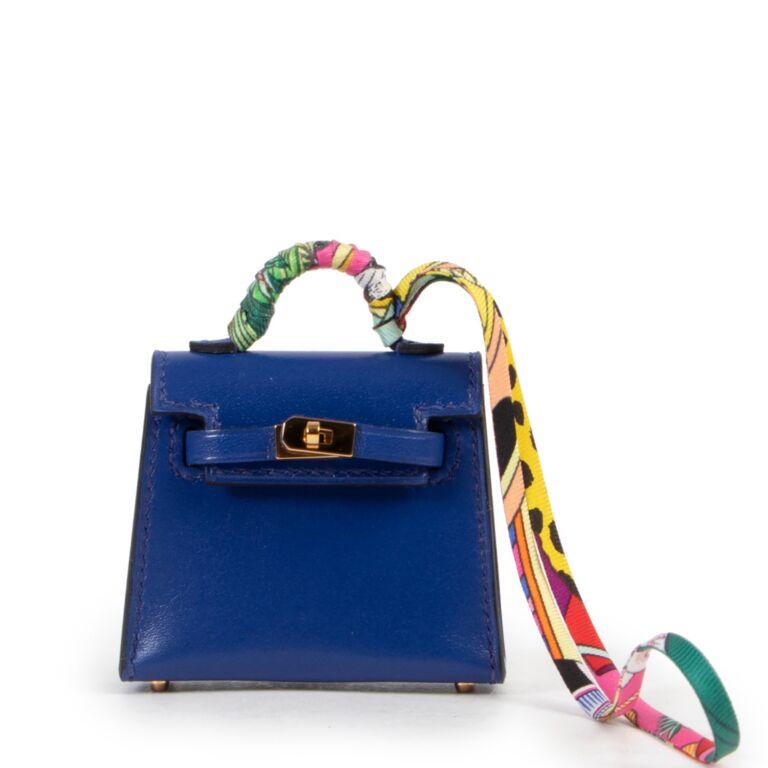 Hermès Mini Kelly Twilly Veau Tadelakt Bleu Electrique GHW Charm