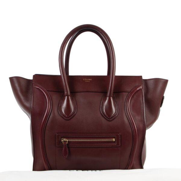 Celine Burgundy Mini Luggage Handbag