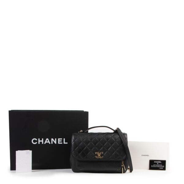 Chanel Black Quilted Caviar Leather Flap Bag