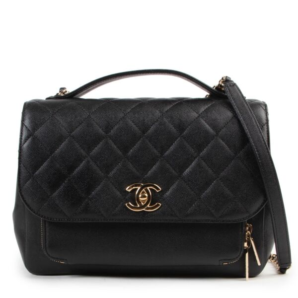 Shop safe online authentic Chanel Black Quilted Caviar Leather Flap Bag.