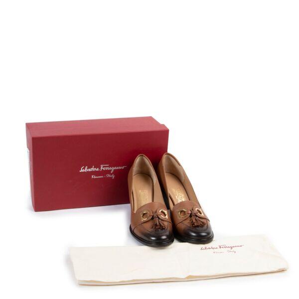 Salvatore Ferragamo Brown Leather Pumps - Size 37.5