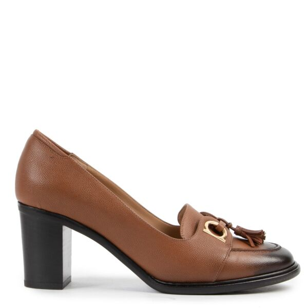 Original Salvatore Ferragamo Brown Leather Pumps in Size 37.5 now online for sale on Labellov Luxury site for 2nd hand designer shoes