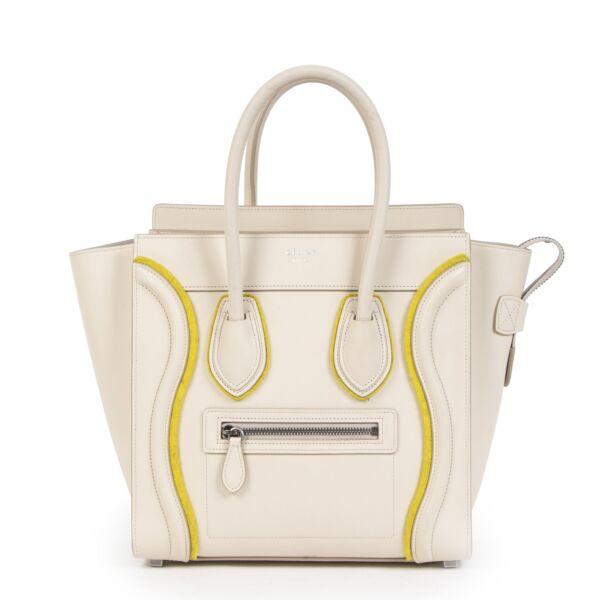 Authentieke Tweedehands Céline Felt Beige and Yellow Leather Luggage Bag juiste prijs veilig online shoppen luxe merken webshop winkelen Antwerpen België mode fashion