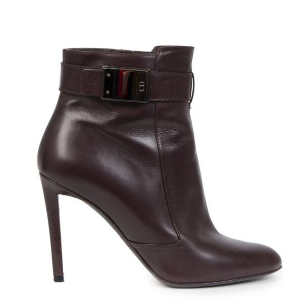 Authentieke Tweedehands Christian Dior Burgundy Leather Ankle Boots - Size 39 juiste prijs veilig online shoppen luxe merken webshop winkelen Antwerpen België mode fashion