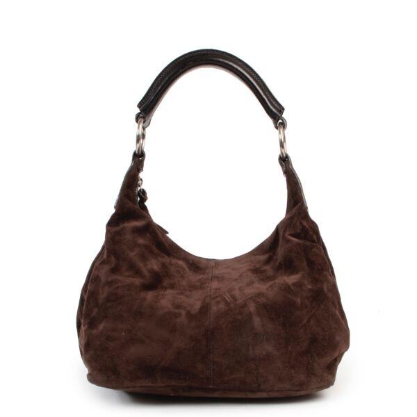 Shop safe online authentic second hand Miu Miu Brown Suede Shoulder Bag.