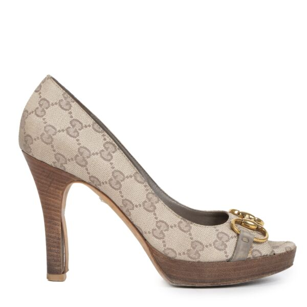Gucci Canvas Monogram Peep Toe Wooden Heel Pumps - Size 37,5 available online at Labellov