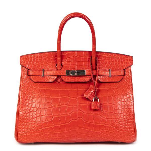 Hermès Birkin 35 Matt Alligator Geranium PHW geranium PHW shop safe secondhand luxury