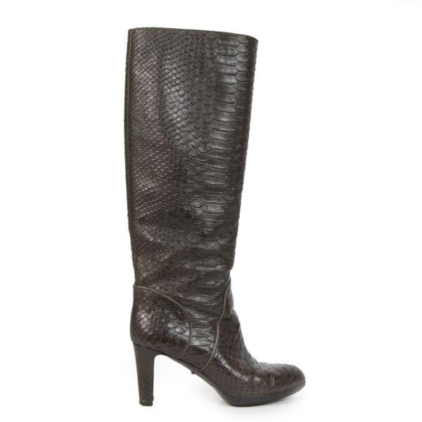 Authentieke Tweedehands Sergio Rossi Brown Snakeskin Boots - Size 38 juiste prijs veilig online shoppen luxe merken webshop winkelen Antwerpen België mode fashion