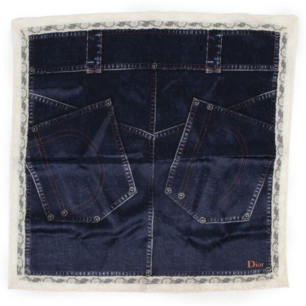 Christian Dior Jeans Pattern Silk Scarf