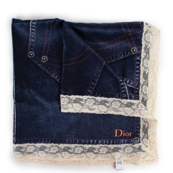 Shop safe online at Labellov in Antwerp this 100% authentic Christian Dior Jeans Pattern Silk Scarf