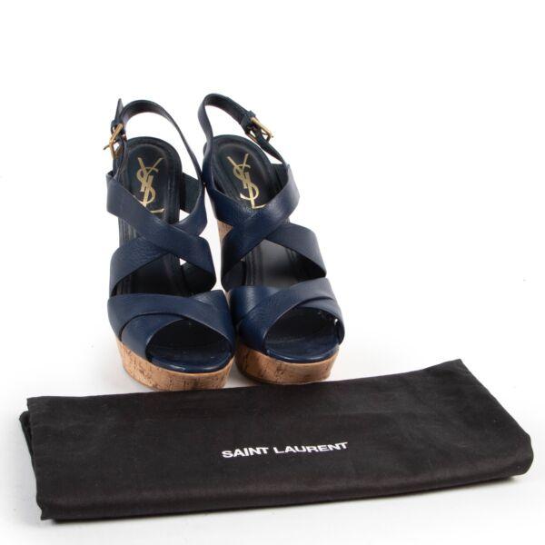 Yves Saint Laurent Blue Cork Wedges - Size 38