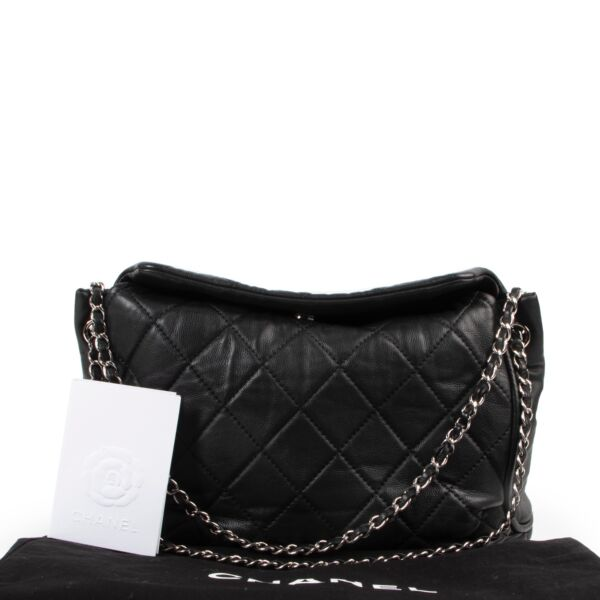 Chanel Black Quilted Shoulder Tote  Bag