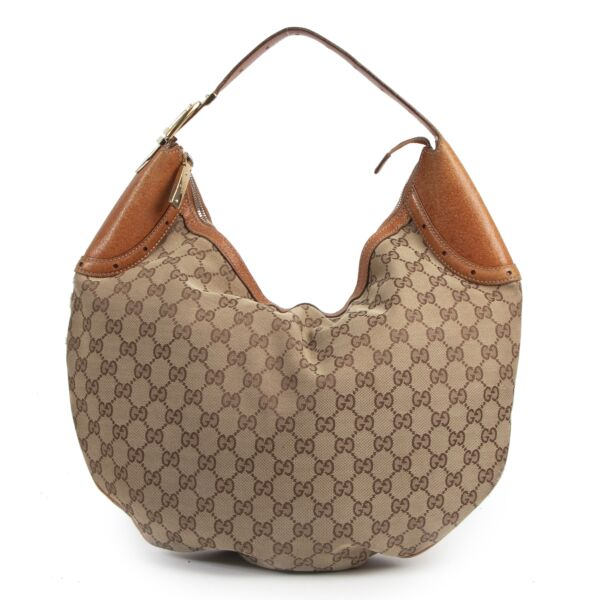 Authentic secondhand Gucci GG Monogram Canvas Hobo Bag designer bags fashion luxury vintage webshop safe secure online shopping