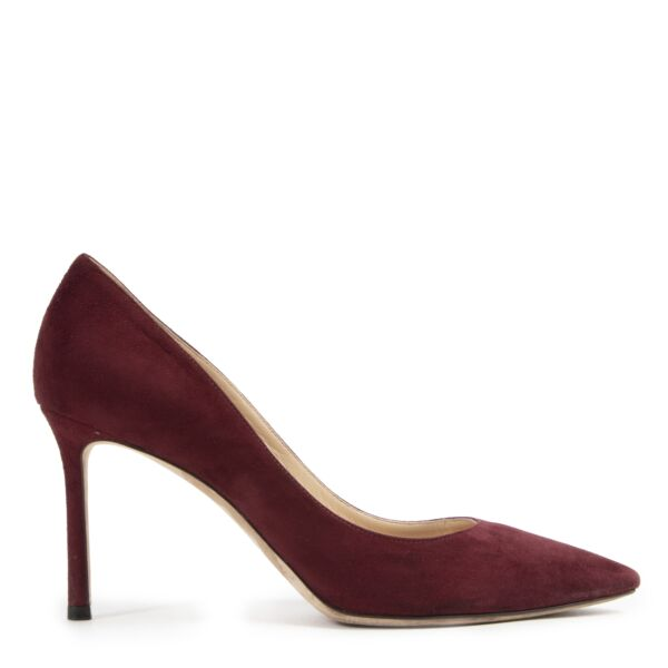 We buy and sell your authentic Jimmy Choo Bordeaux Suede Romy Pumps