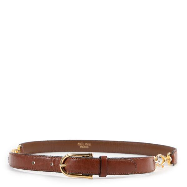 Celine Tan Gold Buckle Belt - Size 70