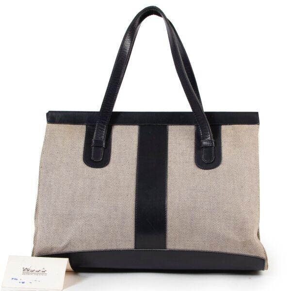 Delvaux Blue Canvas Shoulder Bag