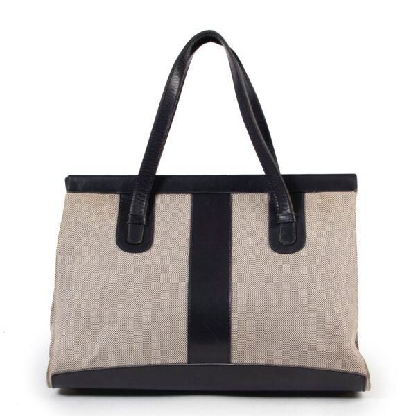 Shop safe authentic second hand Delvaux Blue Canvas Shoulder Bag.