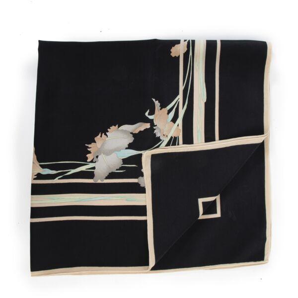 Leonard Black Printed Silk Scarf
