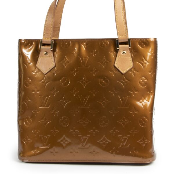 Authentic secondhand Louis Vuitton Brown Vernis Houston Bag designer bags fashion luxury vintage webshop safe secure online shopping