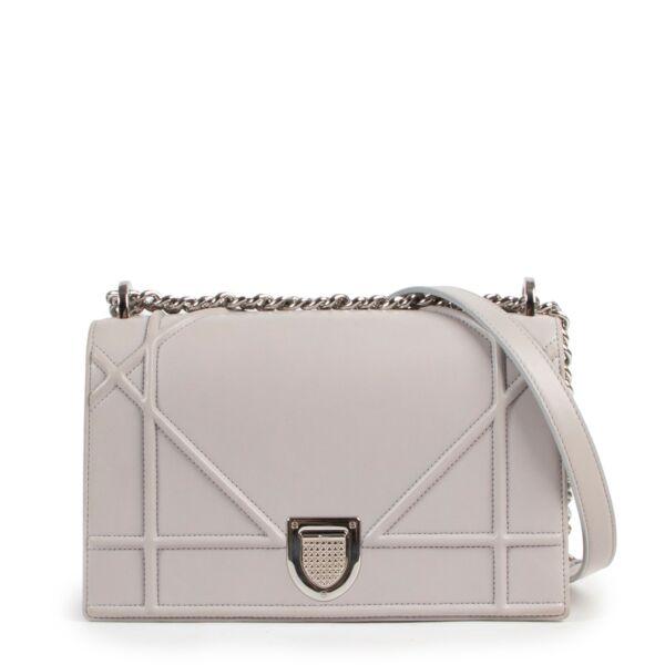 shop safe online secondhand Christian Dior Light Grey Diorama Flap Bag
