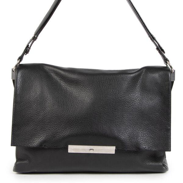 Authentic secondhand Céline Blade Black Calfskin Flap Bag designer bags fashion designer brands luxury vintage webshop safe secure online shopping worldwide shipping