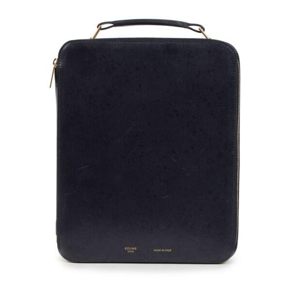 Authentieke Tweedehands Céline Blue Leather Ipad Box juiste prijs veilig online shoppen luxe merken webshop winkelen Antwerpen België mode fashion