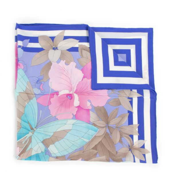 Leonard Blue Silk Flower Scarf