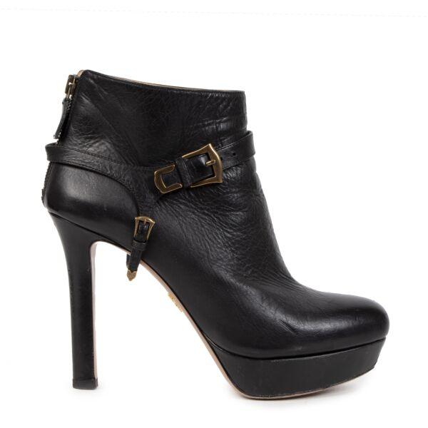 Prada Black Leather Platform Ankle Boots - size 38,5
