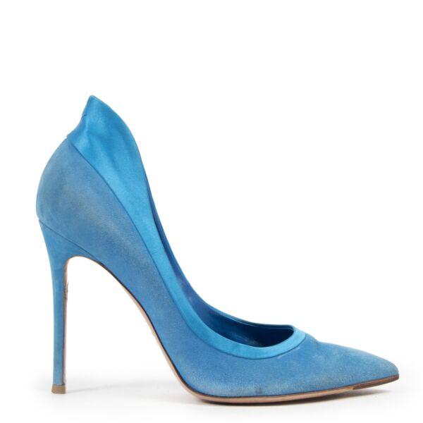 Authentieke Tweedehands Gianvito Rossi Blue Suede Pumps - Size 40 juiste prijs veilig online shoppen luxe merken webshop winkelen Antwerpen België mode fashion