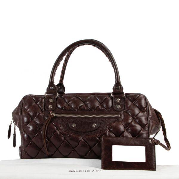 Balenciaga Plombe Brown Quilted Handbag