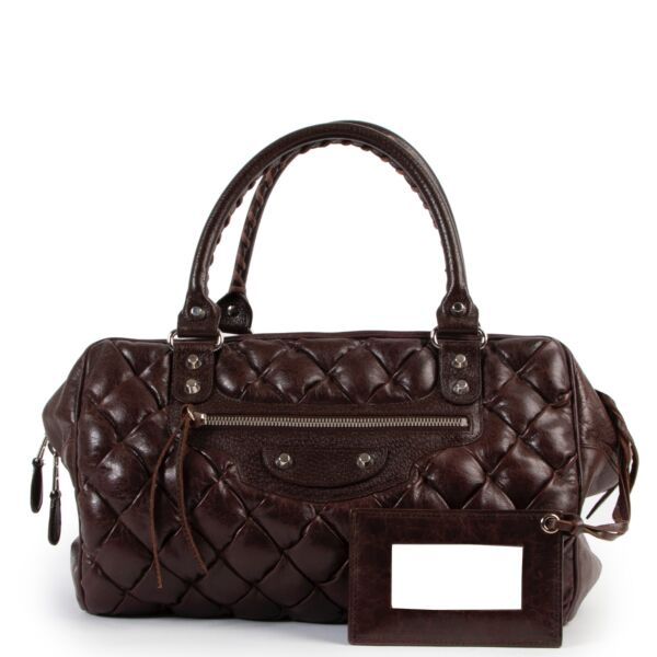 buy and sell authentic vintage second hand Balenciaga Plombe Brown Quilted Handbag at Labellov for the best price
