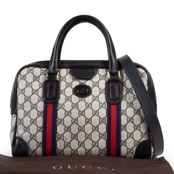 Gucci Blue Monogram Boston Shoulder Bag
