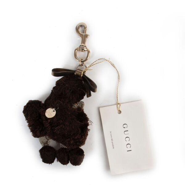 Shop safe online authentic Gucci Brown Poodle Keychain at the right price.