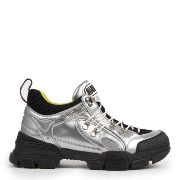 Authentic secondhand Gucci Flashtrek Metallic Leather and Mesh Sneakers - Size 41 designer sneakers shoes fashion luxury vintage webshop safe secure online shopping