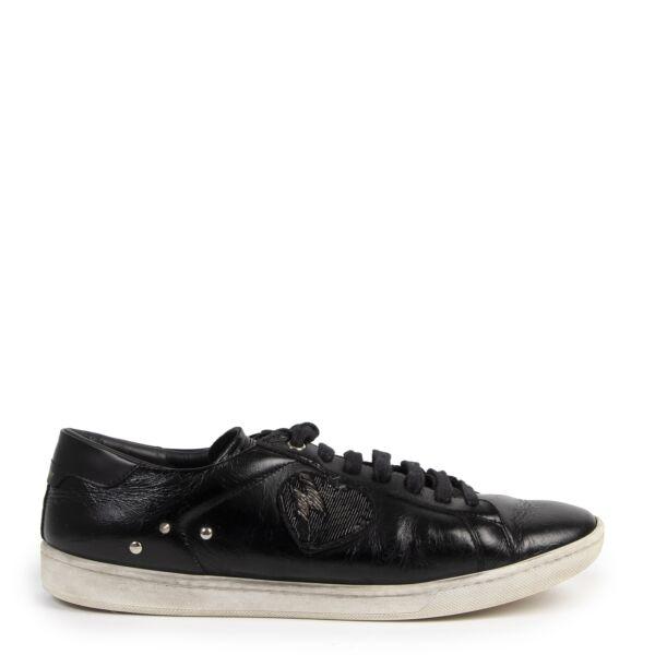 Authentieke Tweedehands Saint Laurent Black Lightning Heart Patch Sneakers - Size 40 juiste prijs veilig online shoppen luxe merken webshop winkelen Antwerpen België mode fashion