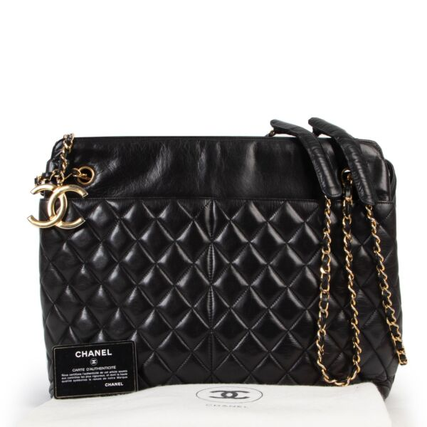 Chanel Vintage Black Quilted Shopper