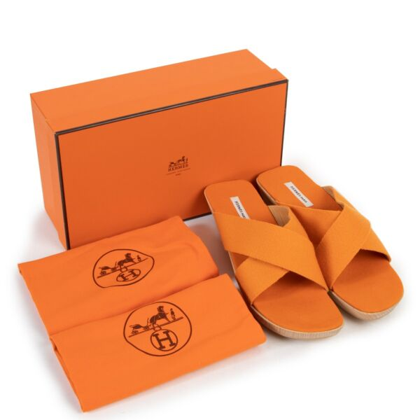 Hermès Orange Crisscross Wooden Slides Sandals - Size 40