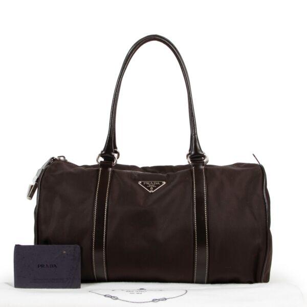 Prada Brown Nylon Duffle Bag