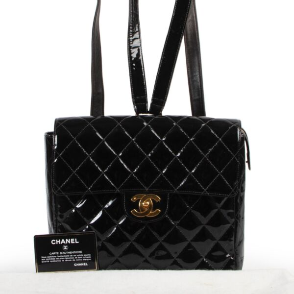 Chanel Black Quilted Patent Leather Backpack