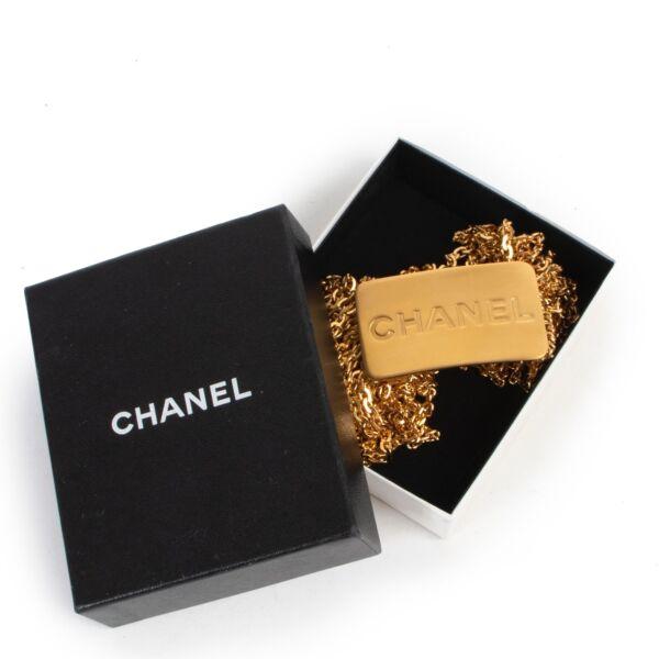 Shop safe online 100% authentic second hand Chanel Gold Logo Buckle Belt - Size 80